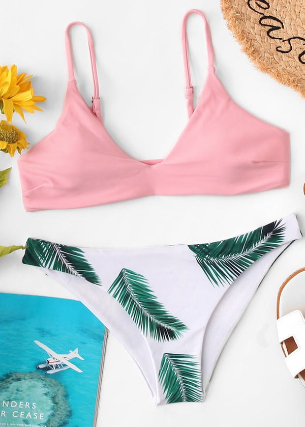 663e78495b ... Random Leaf Print Mix and Match Bikini Set. On sale