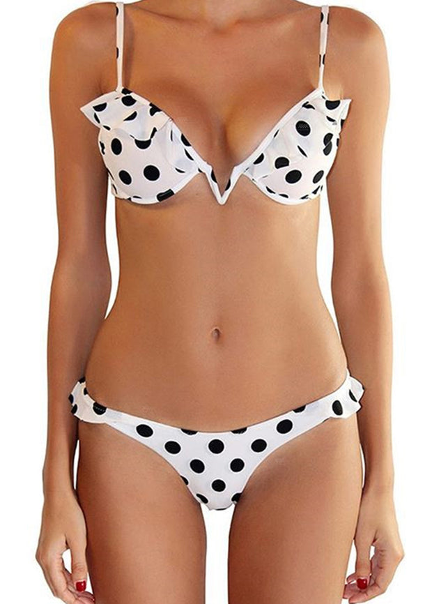 Dot Printed With Underwear Top Bikini Set