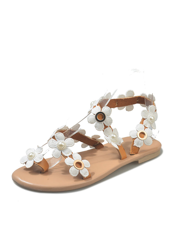 Flat Flower Open Toe Sandals