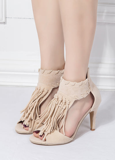 Fringed High-heeled Sandals