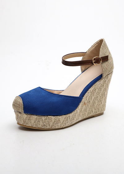 Straw-knitted Linen Sloping High-heeled Sandals