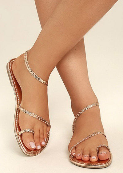 Weave Open-toed Flat-soled Sandals