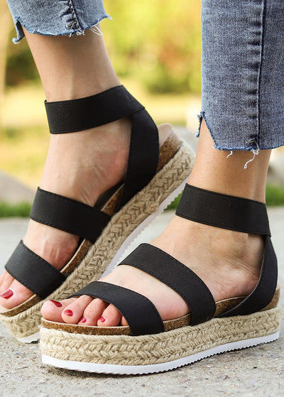 Heavy-soled One-word Buckle Sandals
