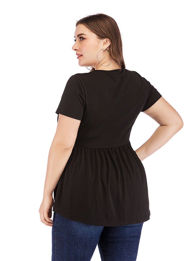 Plus Black T-shirt For Waist-tied Top