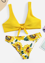 Sunflower Printing Front-knot Textured Bikini Set