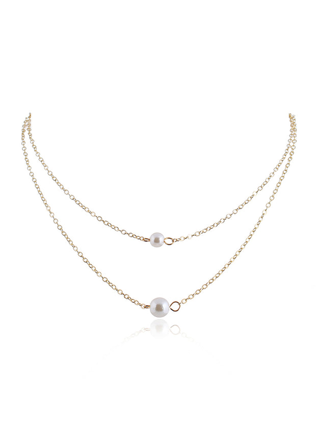 Double Pearl Clavicle Necklace