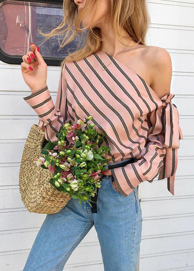 Stripe Printed With Cold-shoulder Top