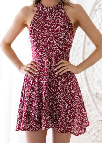 Floor-back Printed Halter Dress