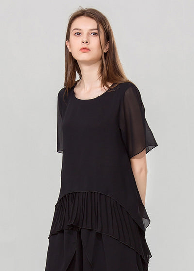 Solid-color With Round-collar Chiffon Tops