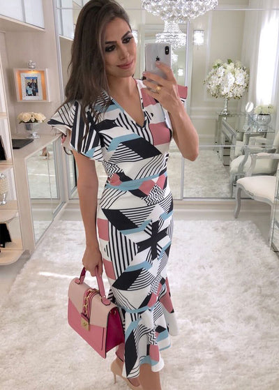 V-neck Slim Irregular Square Print Dress
