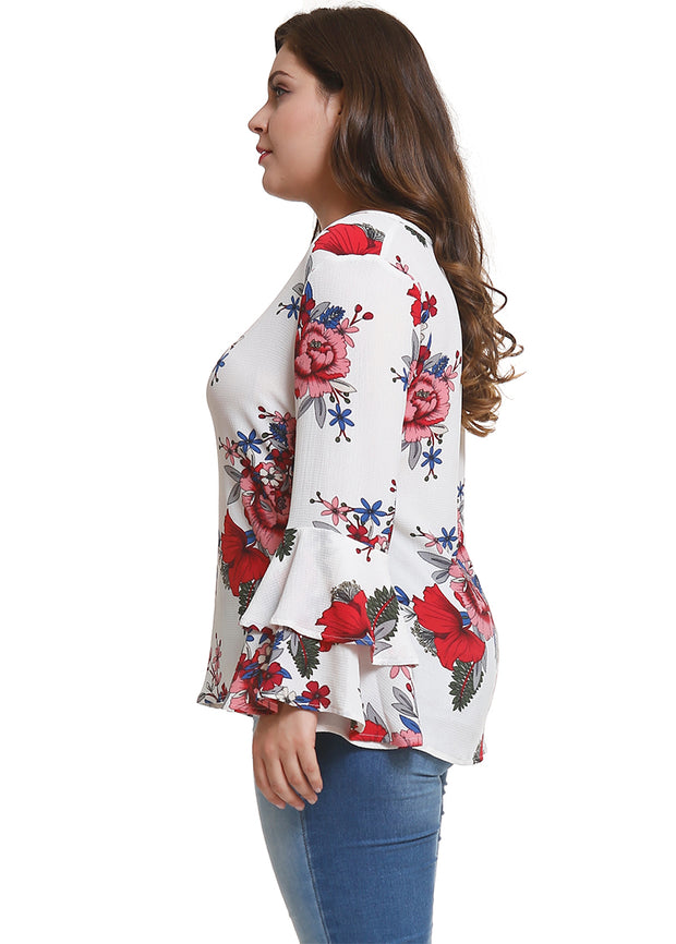 Floral Printed Bell-sleeve Plus Top