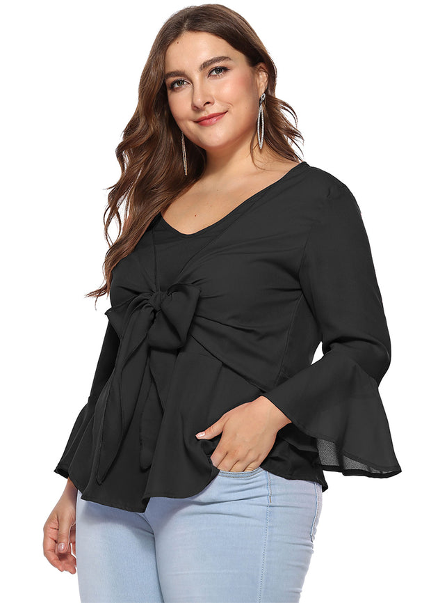 Plus Front Bow Blouse