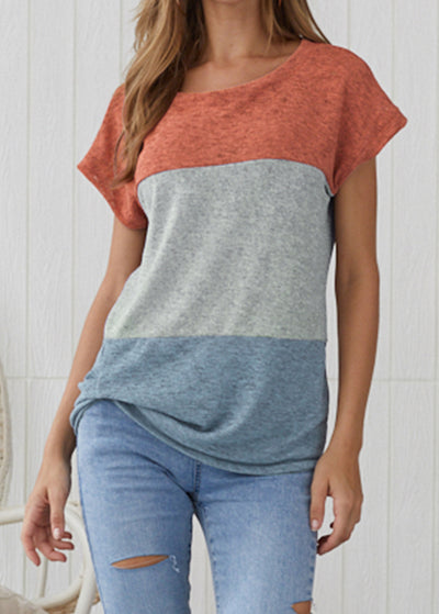 Colour-matched Short-sleeved Casual Top