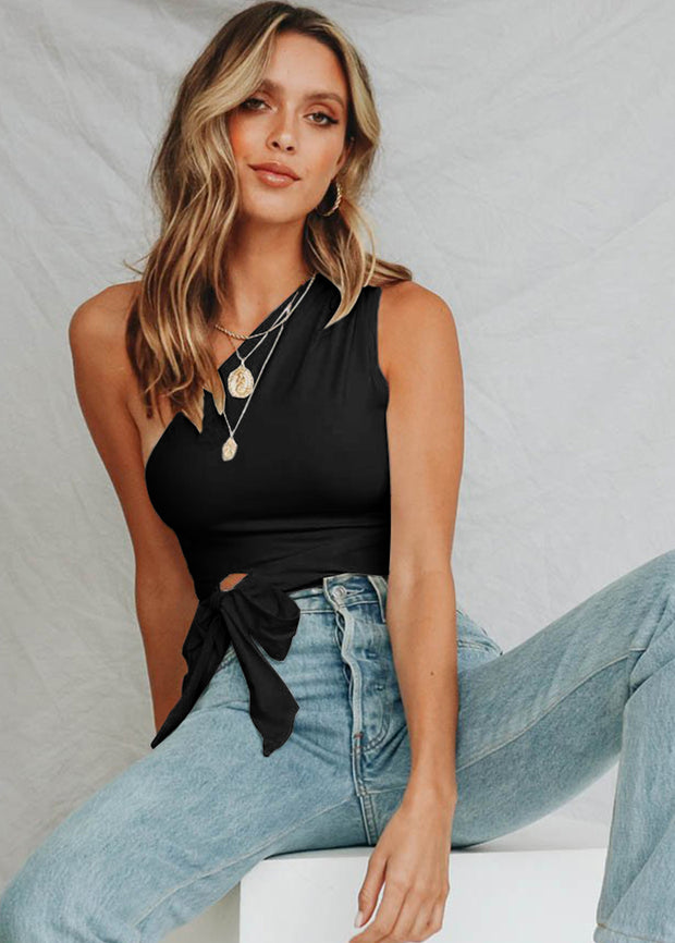 Single Shoulder Sleeveless Strap Top