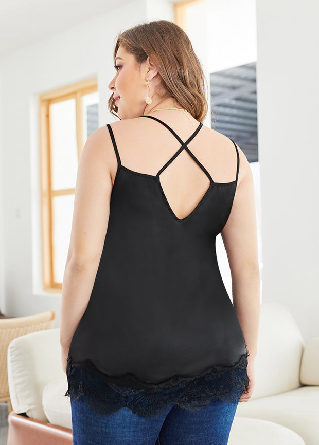 Plus Lace Hem Bare Backless Top