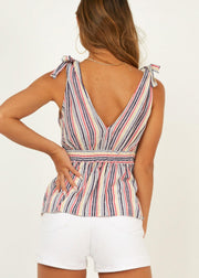 Stripe Printed With Front Button Decoration Tops