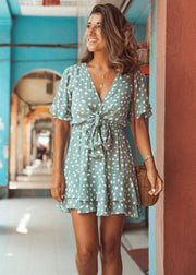 Dot Printed Knot-front Dress
