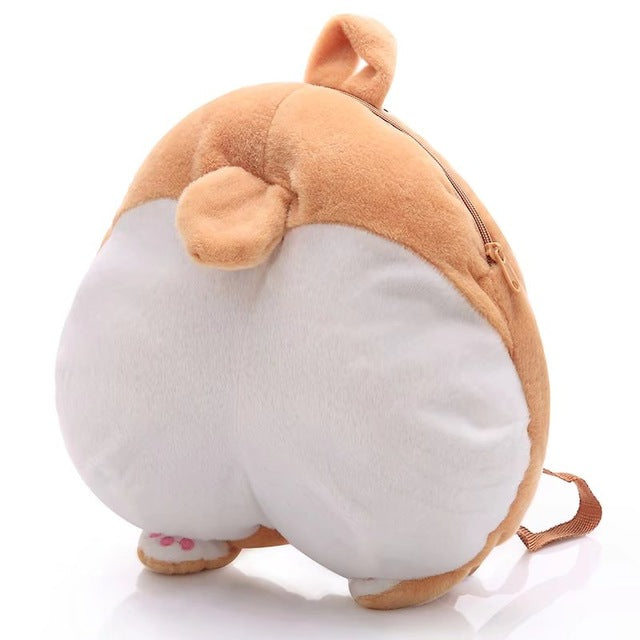 Cute Fluffy Corgi Butt Plush Backpack