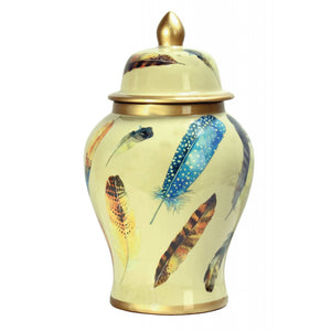 Large Feather Porcelain Jar in Cream