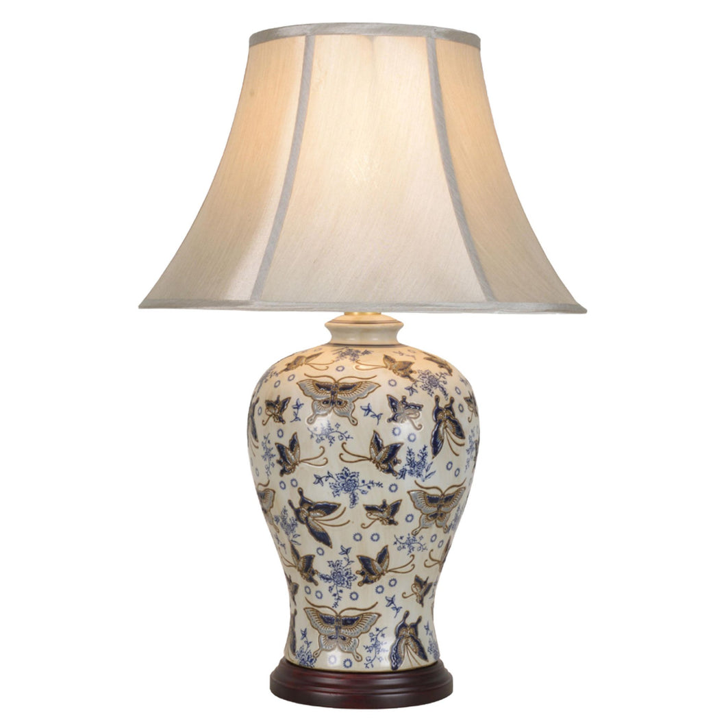 Porcelain Butterfly Table Lamp and Shade