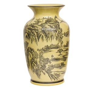 Cream and Black Porcelain Landscape Vase