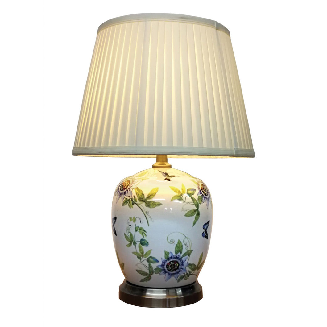 Porcelain Passionflower Lamp and Shade