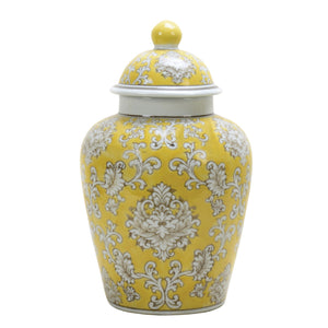 Yellow Floral Porcelain Jar