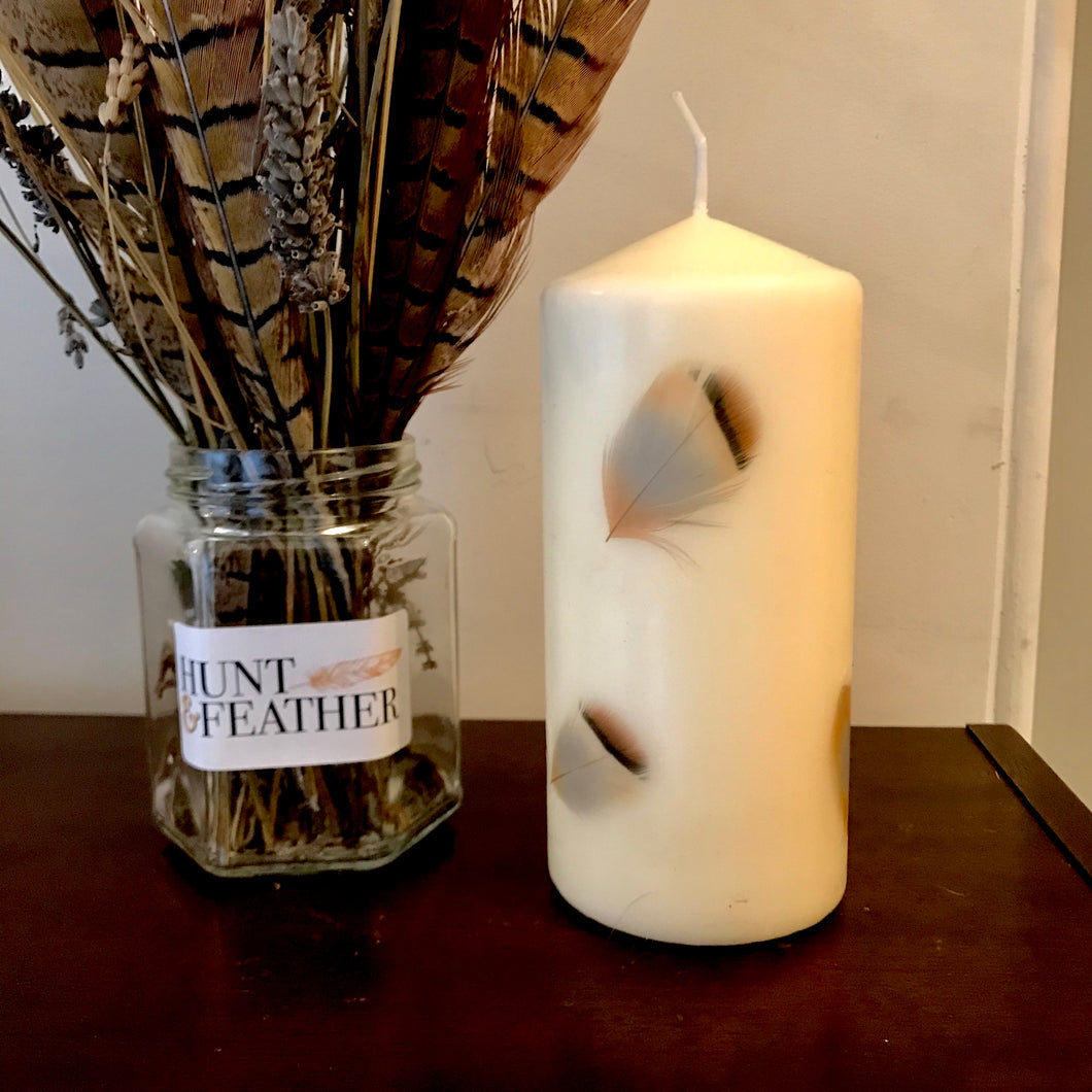 French Partridge Feather Candle