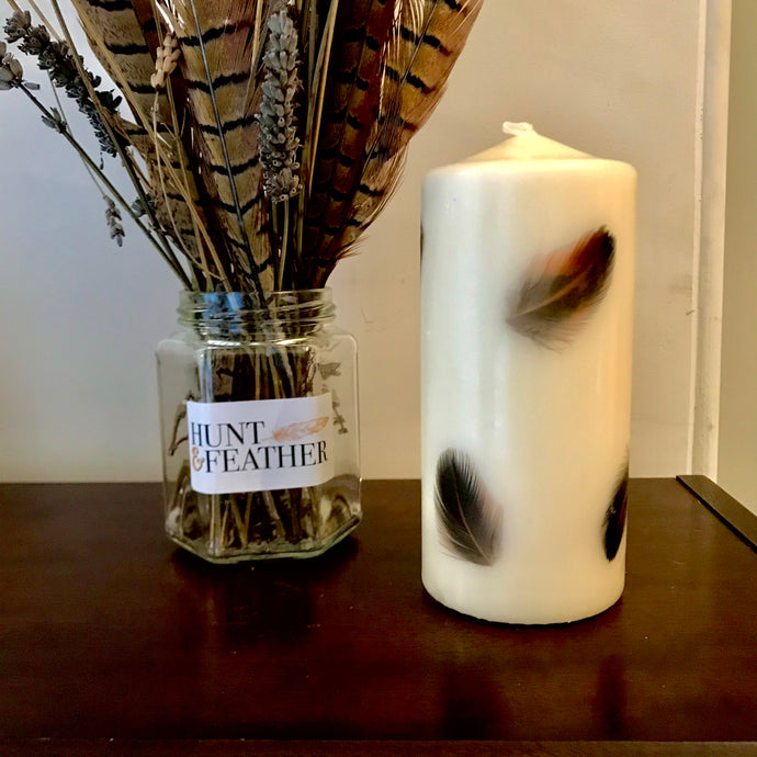 Dark Pheasant Feather Candle