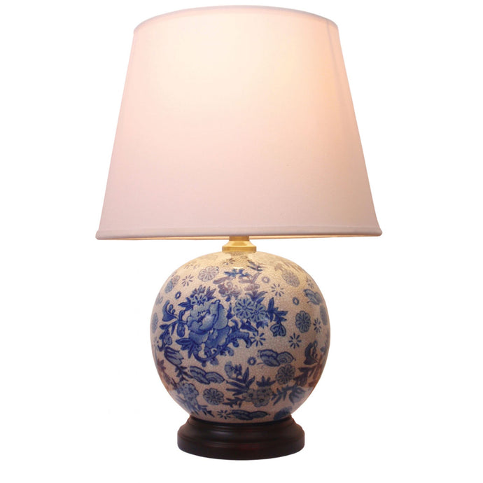 Porcelain Blue and White Ball Lamp and Shade