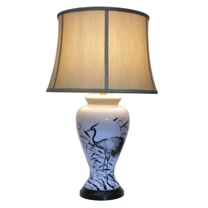 Porcelain Heron Lamp and Shade