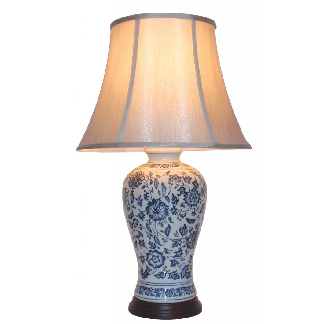 Porcelain Blue and White Flower Pattern Table Lamp and Shade