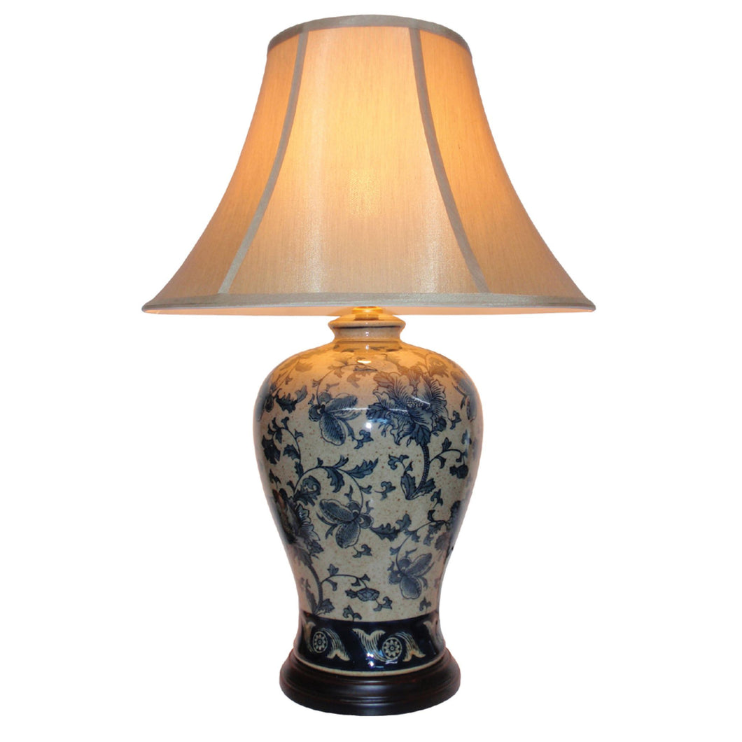 Porcelain Blue and White Floral Table Lamp and Shade