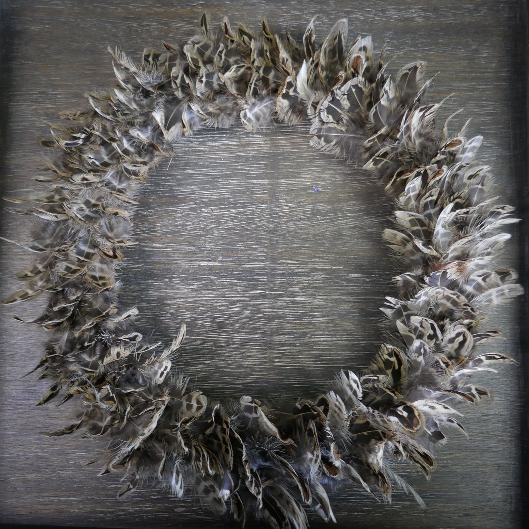 Textured Feather Wreath - Hen Pheasant