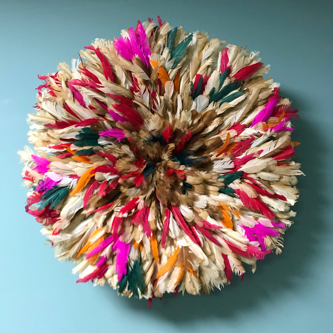 Pink Coloured Feather Juju Hat