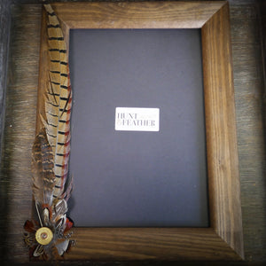 A4 Feather and Shotgun Cartridge Wooden Photo Frame