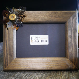 Feather and Shotgun Cartridge Wooden Photo Frame