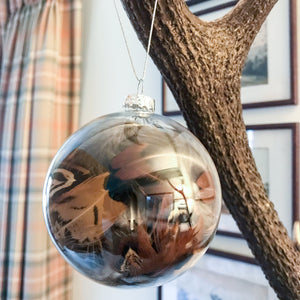 Feather Filled Glass Bauble