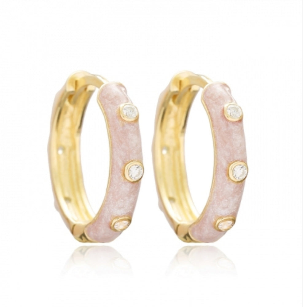 Mother Of Pearl Enamel hoops