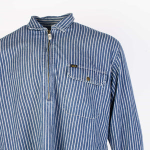 Vintage Lee Sanforized 1/4 Zip Denim Shirt - Hickory Striped - American Madness