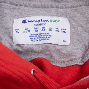Vintage Champion Logo Hooded Sweatshirt - Red - American Madness