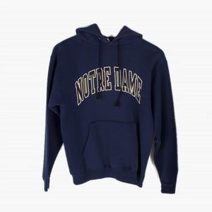 Vintage Champion 'Notre Dame' Hooded Sweatshirt - Navy - American Madness