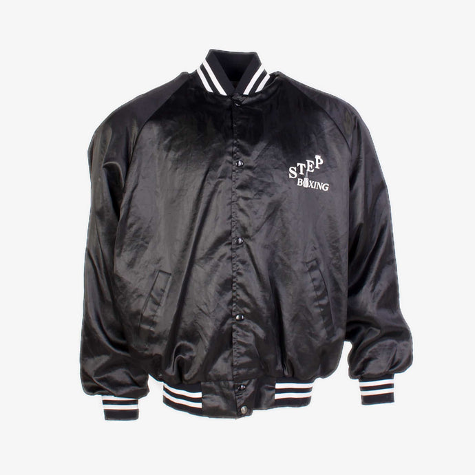 Vintage 'Step Bowling' Satin Baseball Jacket - Black - American Madness