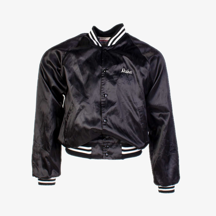 Vintage 'Cheer' Baseball Satin Jacket - Black - American Madness