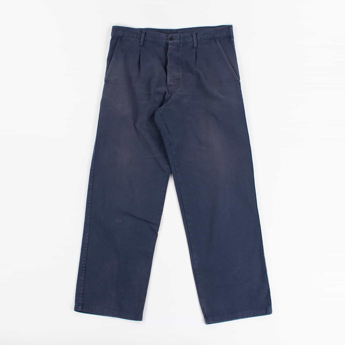Vintage 1970's French Work Trousers in Blue Cotton Canvas - American Madness