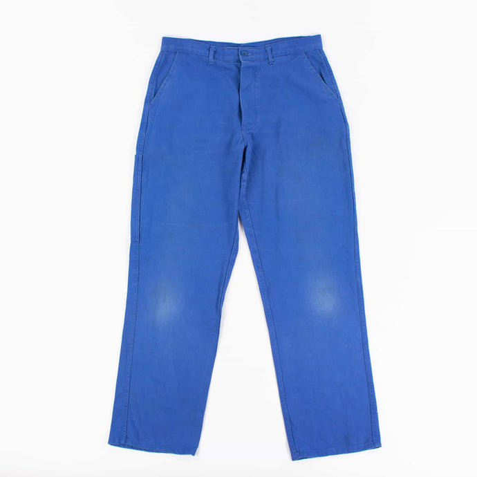 Vintage 1980's French Work Trousers in Blue Cotton Canvas - American Madness