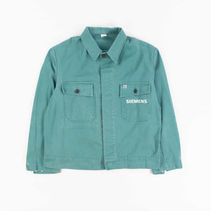 Vintage 1980s Green French Work Chore Jacket Shirt - American Madness