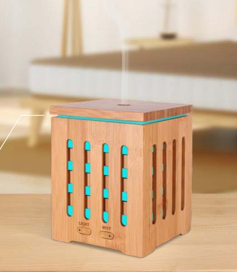Square Bamboo Ultrasonic Essential Oil Diffuser 200 ml