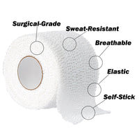 "Athletic Sports Tape - SELF-STICK - Cohesive - VERY Strong - EASY Tear - BEST TAPE for Athlete & Medical Trainers. PERFECT on bat, Lacrosse / Hockey stick, Lifters, Climbers & Boxing 1.5"" X 7.5 Yards (White, 3-Pack)"