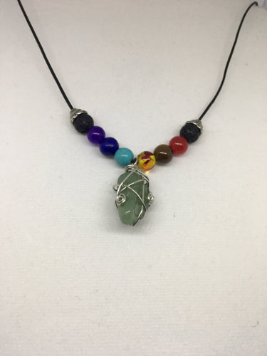 Handcrafted Chakra Lava Bead Diffuser Leather Necklace with Lobster Claw Clasp